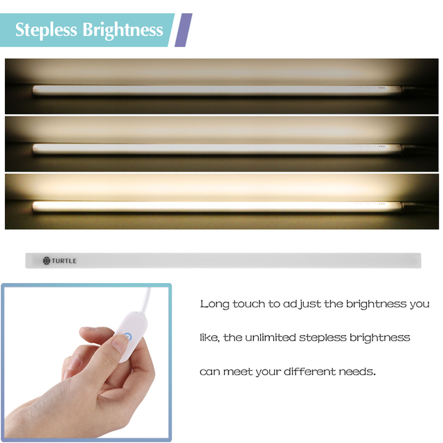 Magnet USB 38-LED Under Cabinet Lights Bar with Touch Switch Stepless Brightness for Home Wardrobe Cafe Stor