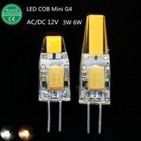10x الصمام g4 مصباح 3 واط 6 واط cob led لمبة ac/dc12v البسيطة lampada أدى g4 cob ضوء 360 أضواء شعاع زاوية استبدال الهالوجين g4 الثريا