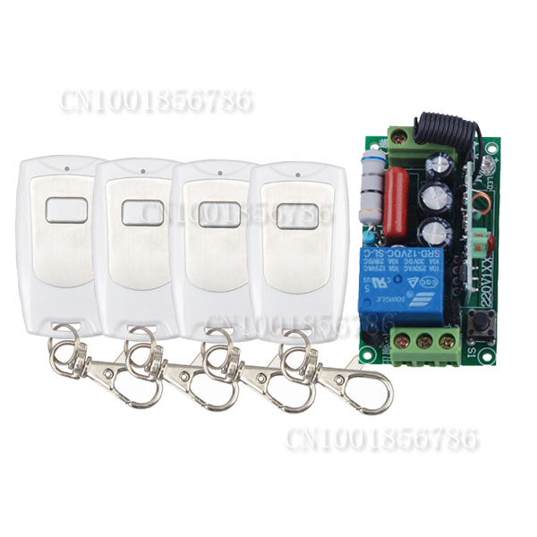 AC220V 1CH 10A Radio Wireless Remote Control Learning Code Switch With 4pcs Waterproof White Transmitter Output Adjusted free shipping 220v 1ch 10a radio wireless remote control switch learning code with 2pcs waterproof transmitter output adjusted