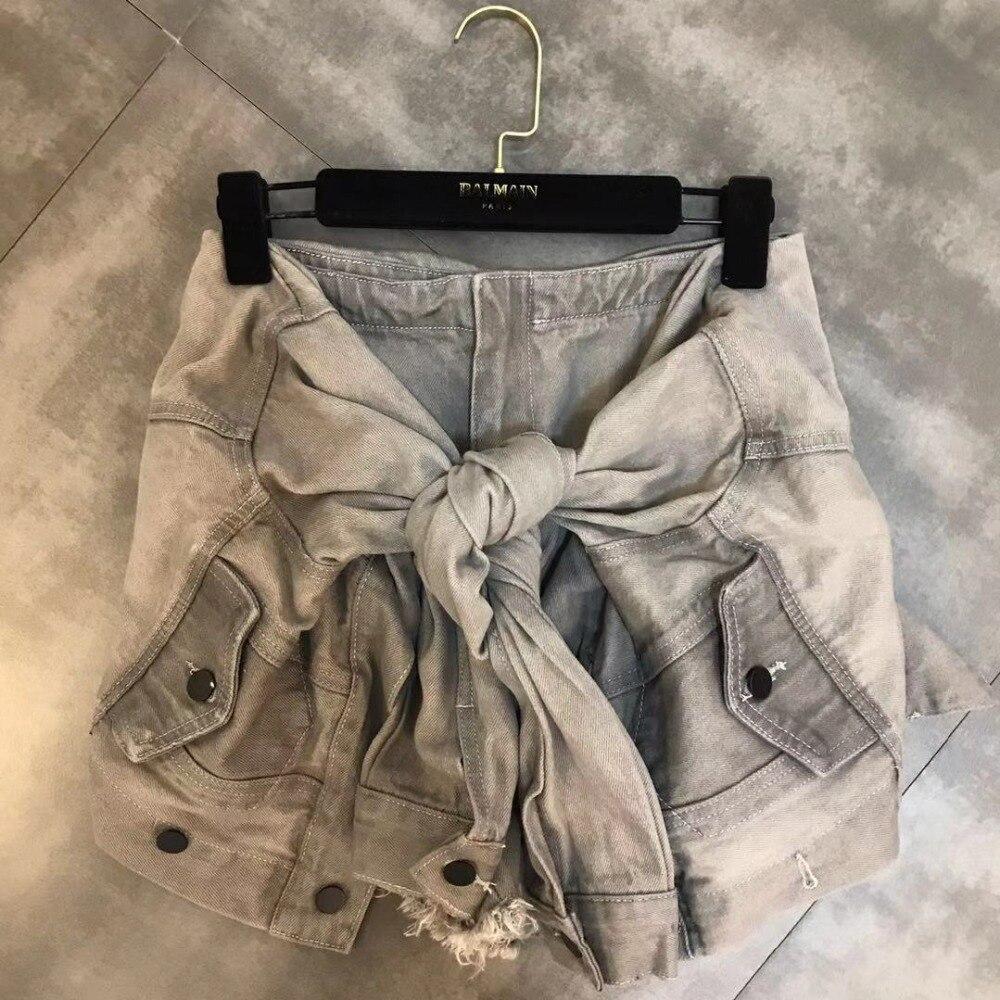 Luoanyfash Lace Up Shorts pantalones cortos de mezclilla de cintura alta para mujeres de calle alta verano diseñador ropa 2019 nuevo estilo de moda - 2