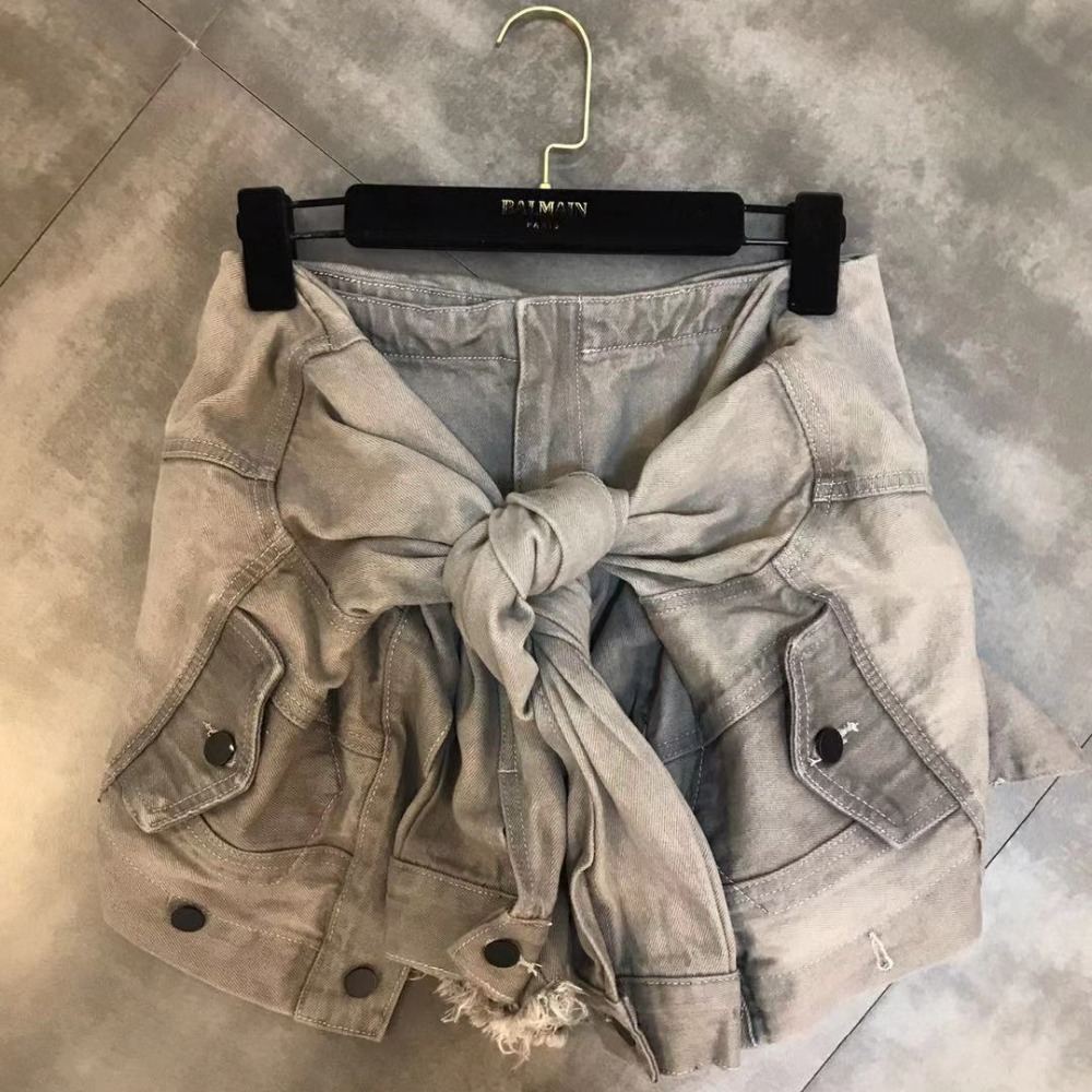 Luoanyfash шорты на шнуровке с высокой талией джинсовые шорты для женщин высокая уличная летняя Дизайнерская одежда 2019 Новый модный стиль - 2