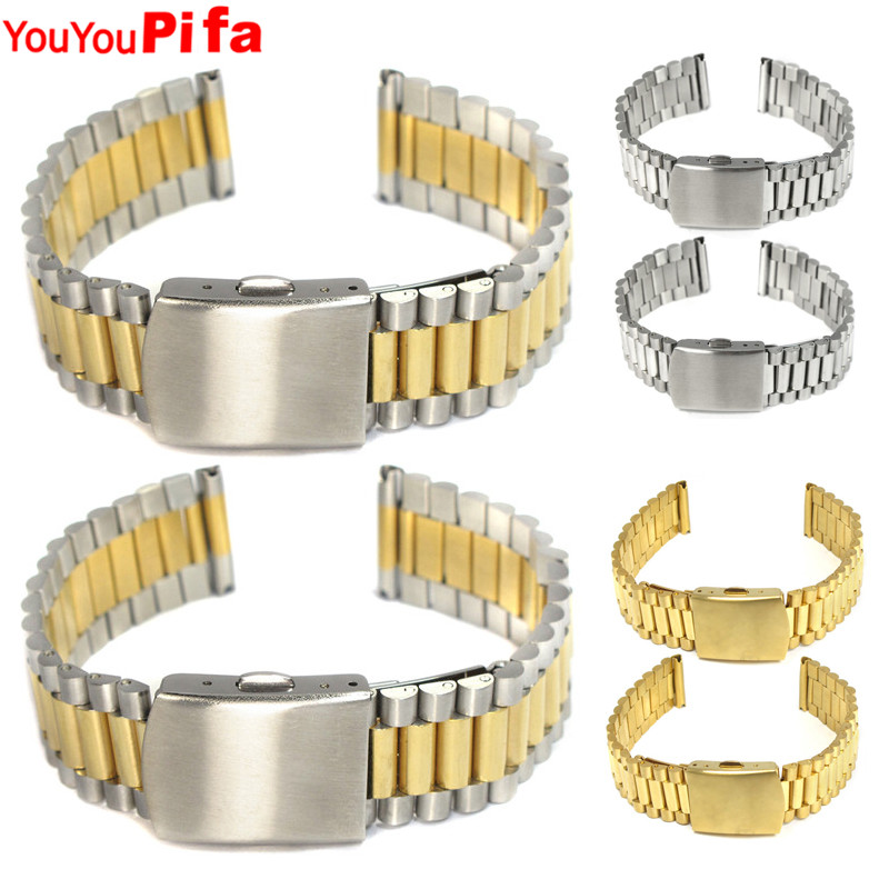 2PCS High Quality Stainless Steel Watch Band 12mm 14mm 16mm 18mm 20mm Men Watch Strap Sliver Golden Steel Buckle Women Watchband