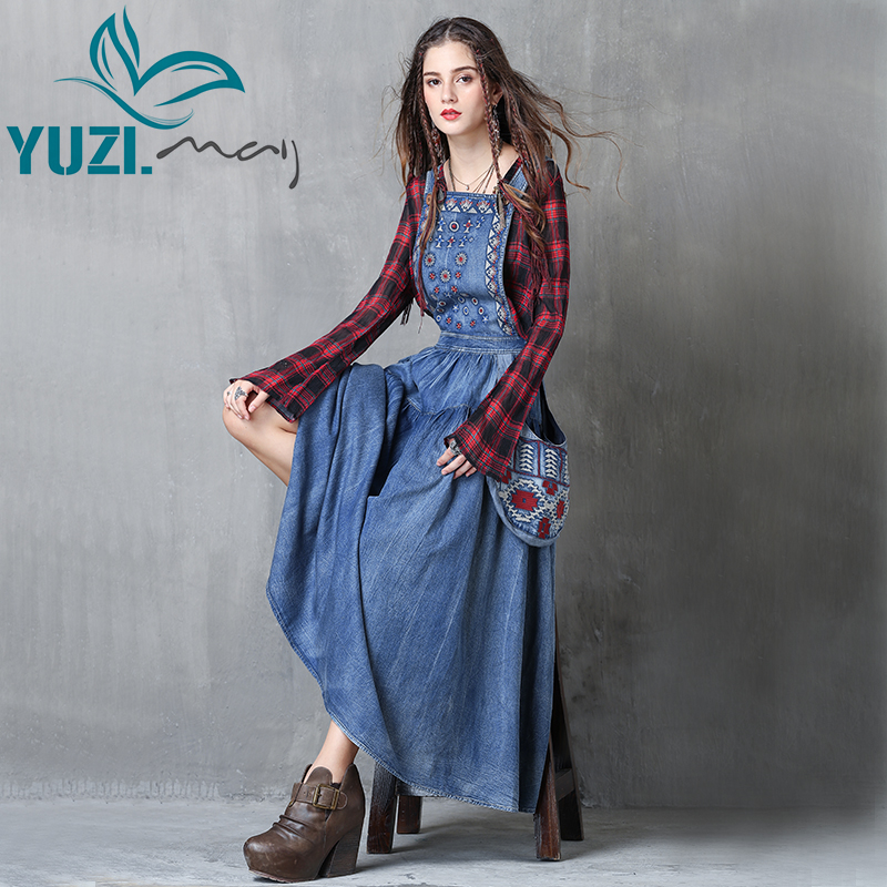 Women Dress 2017 Yuzi.may Boho New Denim Vestidos Flower Embroidery A Line Back Zipper Swing Hem Overall Maxi Dresses A82038-in Dresses from Women's Clothing    1