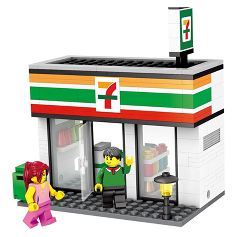 [Jkela] Legoingly City Series Mini Street Model Shop with Apple Store McDonald`s Building Block Compatible with Legoingly Hsanhe