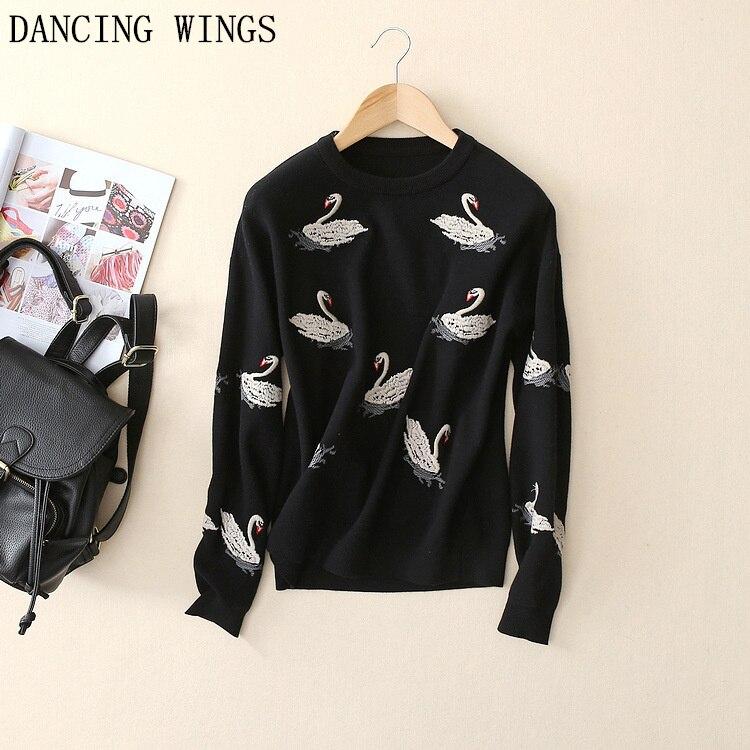 Autumn Winter Swan Embroidery Women Pullovers O-Neck Long Sleeve Warm Christmas Sweater Knitwear