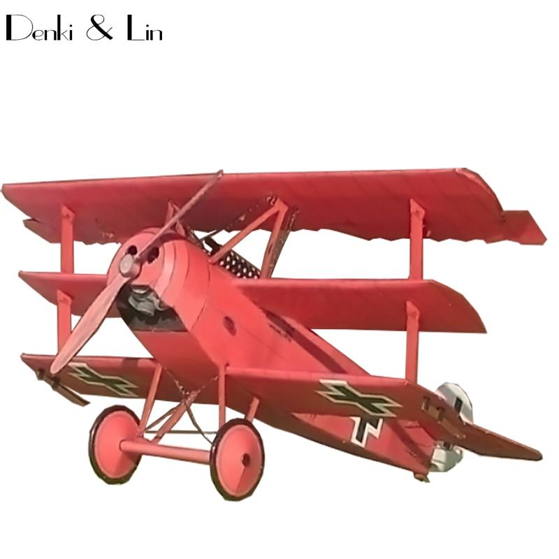 1:33 DIY 3D Fokker Dr.I 1918 Type Three Wing Plane Aircraft DIY Paper Model Assemble Denki & Lin Puzzle Game DIY Kids Toy