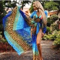 Dividir Frente Sexy Azul da Cópia do Leopardo Praia Verão Vestido Maxi Boêmio V profundo Neck Low Cut Manga Comprida Cintas Laço Longo Festa vestido
