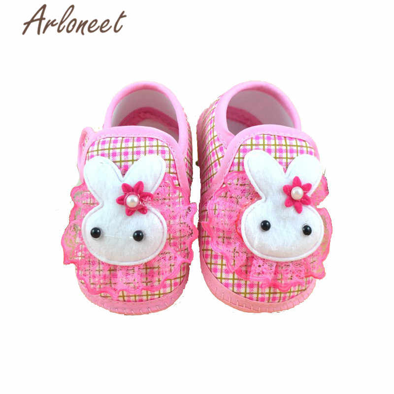 ARLONEET 2019 Newborn Girls baby cotton fabric Canvas Anti-slip Shoes lace bunny print Sneaker Toddle Baby Cloth Crib Shoes