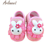 ARLONEET 2019 Newborn Girls baby cotton fabric Canvas Anti-slip Shoes lace bunny print Sneaker Toddle Baby Cloth Crib Shoes(China)