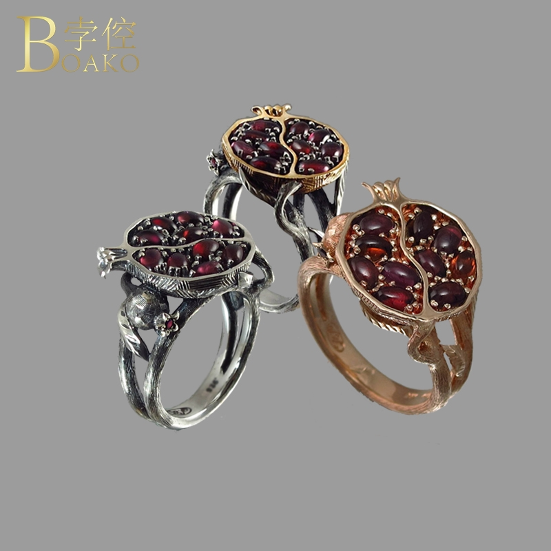 BOAKO Natural Stone Rings For Women Crystal Stainless Steel Ring Gem Stone Red Garnet Ring Rose Gold Vintage Wedding Jewelry Z5(China)