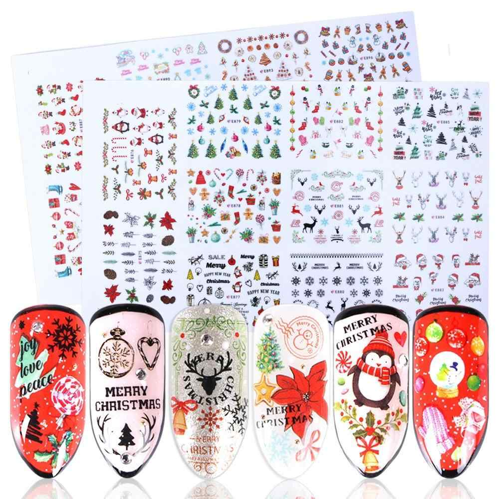 11 Designs Nail 3D Adhesive Stickers Christmas New Year Nail Decals Wraps Santa Claus Elk Snowman Manicure Decor Nail Tool