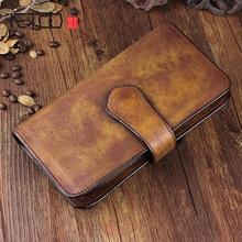 AETOO Handmade leather long wallet multi-functional vintage old mens handbag large buckle ladies cell phone Vintage