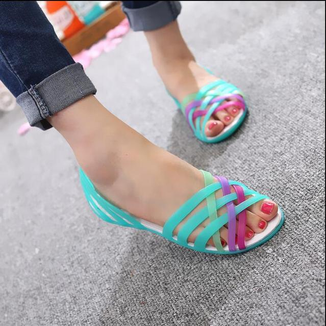 26fae9741c110 2016 Women Sandals 2016Summer New Candy Color Peep Toe Stappy Beach  Valentine Rainbow croc Jelly Shoes Woman Wedges sandals