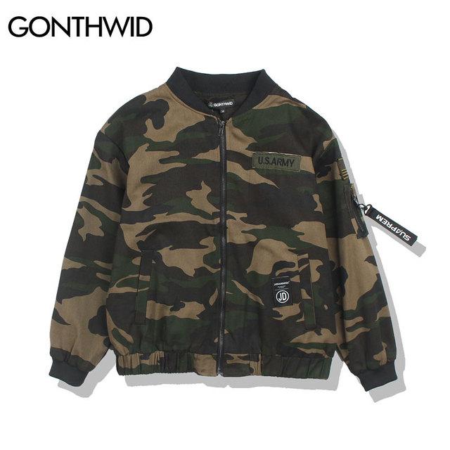 Men Camouflage Bomber Jacket