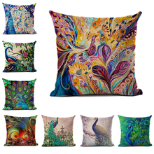 Abstract Art Series Linen and Polyester Cushion Cover European Light Luxury Peacock Pillowcase Sofa Car Waist