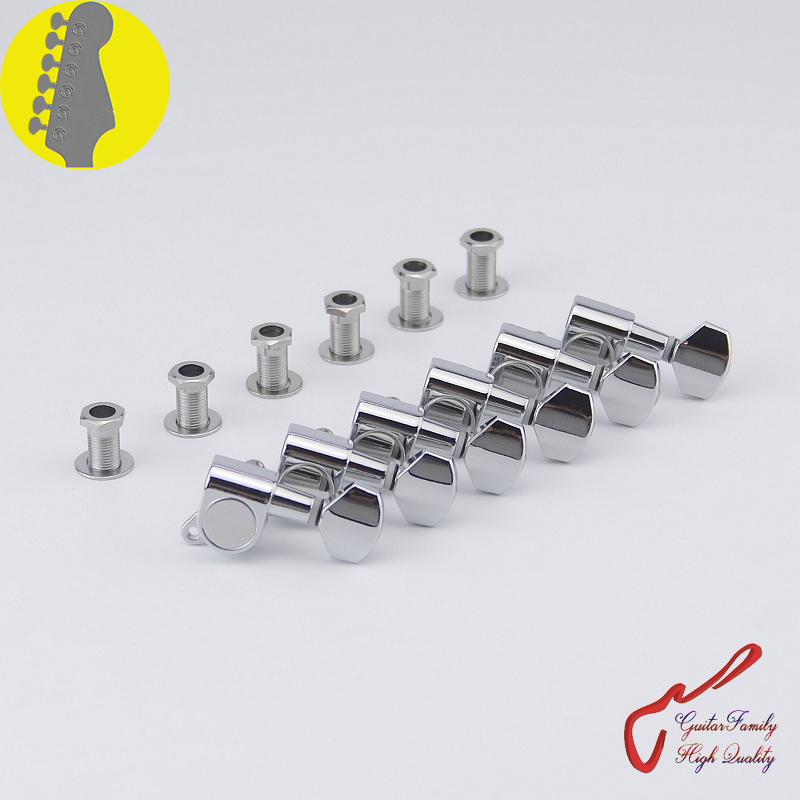 1 Set GuitarFamily  6 In-line  Guitar  Machine Heads Tuners  Chrome ( #0986 ) MADE IN KOREA 1 set guitarfamily 6 in line kluson vintage guitar machine heads tuners nickel made in korea