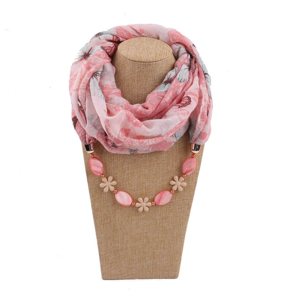 2019 Multi-style Statement Jewelry Shell And Chain Pendant Necklace Scarf Women Neck Scarves Foulard Femme Ladies