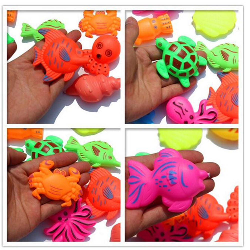 10pcs Magnetic Assorted Colors fish Toy Kid Fishing Game girl boy Baby Bath Toy Outdoor Funny Toy Set colors Style sent randomly