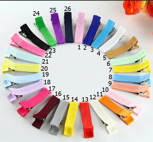 """Image 5 - 240pcs Hair clip accessories 1.8"""" Ribbon Lined cover Alligator clips Single Prong hairpins girls Hair bow flower headwear FJ3206"""