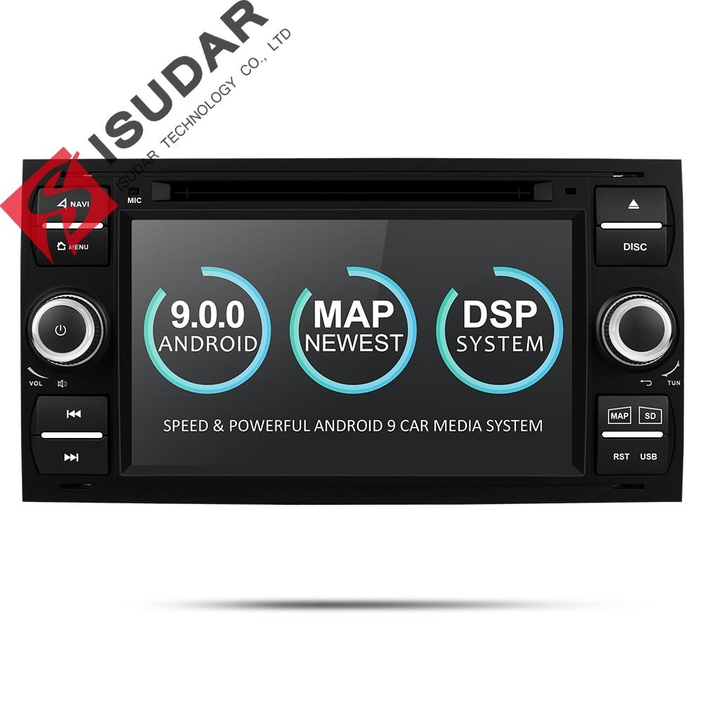 Lecteur multimédia de voiture Isudar Android 9 Autoradio GPS 2 Din 7 pouces pour Ford/Mondeo/Focus/Transit/C-MAX/S-MAX/Fiesta 2 GB RAM DVD