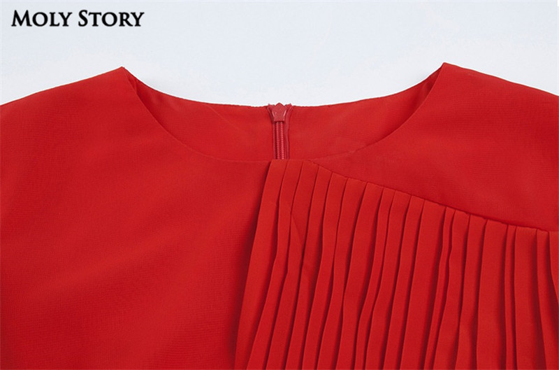 Super! Elegant Silk Red Pleated Dresses Cute Ruffle Long Dress Slim - Women's Clothing - Photo 4