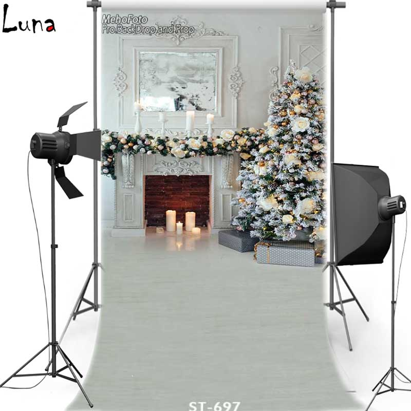 MEHOFOTO Fireplace New Fabric Flannel Photography Background For Children Merry Christmas Vinyl For Family photo studio ST697