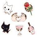 1Pc Creative Cute Cartoons Cat Wine Cocktail Rose Flower Heart Hand Badge Corsage Collar Metal Brooch Pins #94035