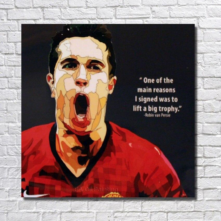 Doprava zdarma Vysoce kvalitní olejomalba na plátně Fotbalový plakát Pop Art Ručně malované plátno na zdi pro obývací pokoj
