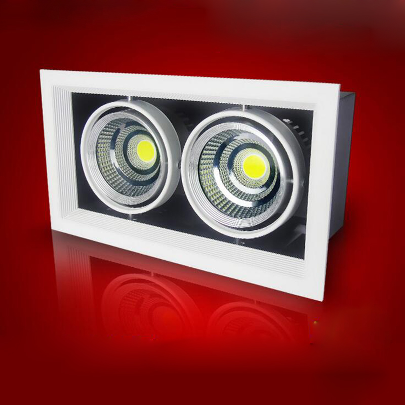 6PCS/lot Double LED downlight Dimmable 2X10W LED Ceiling LED light AC85V-265V spotlights warm/cool white plafond recessed lamps