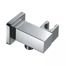Shead Holder Bracket Hand Shower Connector Wall Outlet Elbow Square Brass Chrome 04 017