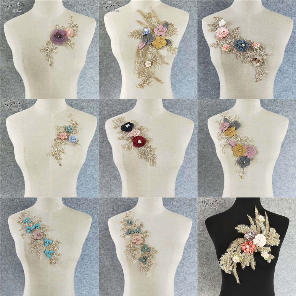 C-Pioneer 1pcs DIY Lace Embroidery Applique Patches Sew on Clothing Neck Collar Accessories Craft