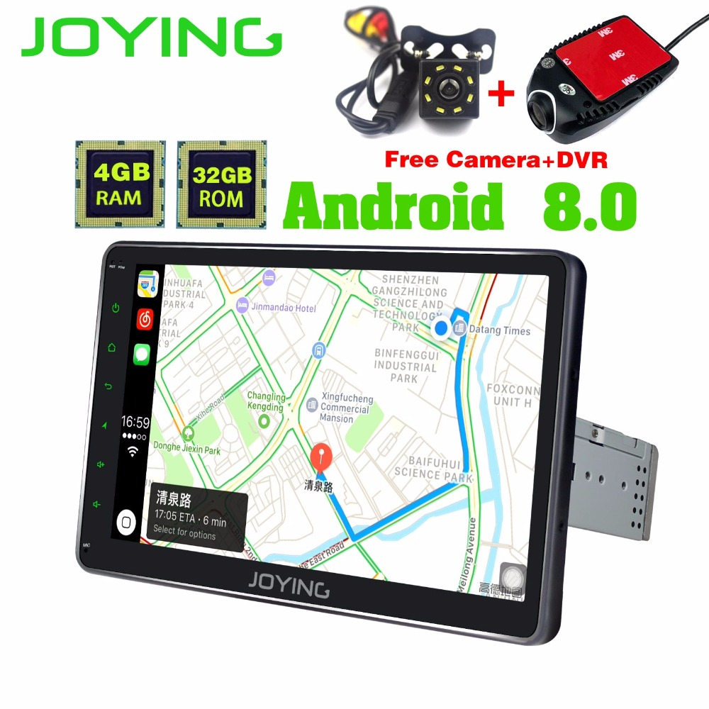 JOYING 4GB RAM android 8 car dvd gps navigation radio video stereo universal 1din 10 inch multimedia player with DVR rear camera joying 10 inch android 8 0 octa 8 core 4g ram 32g rom car radio player gps navigation bt wifi with free dvr and rear view camera