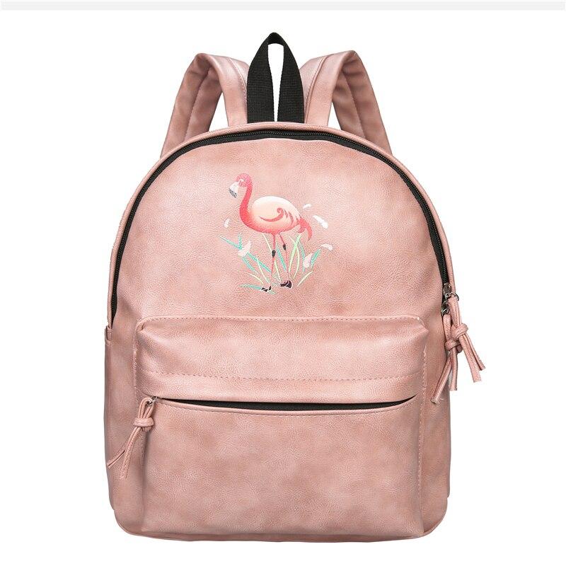 Fashion Flamingo Printing Backpack Women Bag Waterproof PU Leather School Bag for Teenage Girls Bagpack mochila