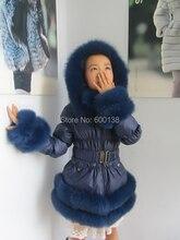 【送料無料】新スタイルの冬の子供ダウンコート/人気ダウンキツネの毛皮のトリムで着用/age10-13 免責による色フグ