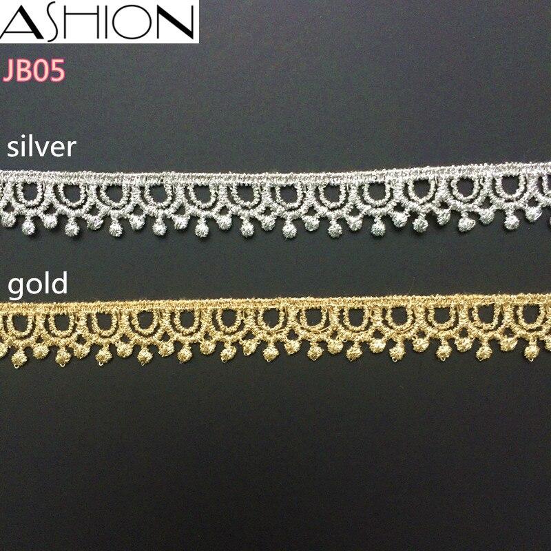 5 yardů LP-JB05 Šířka 13mm zlaté a stříbrné Čipka Lace, DIY Oděvní doplňky, šití Edge Trim Wedding Lace, Čipka Materiál