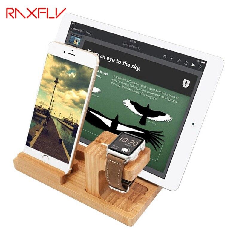 imágenes para RAXFLY Nuevo Bambú Original de Soporte de Carga Dock Station Soporte Accesorio para iphone 4 4s 5 5s 5c 5se 6 6 plus para el reloj Socket
