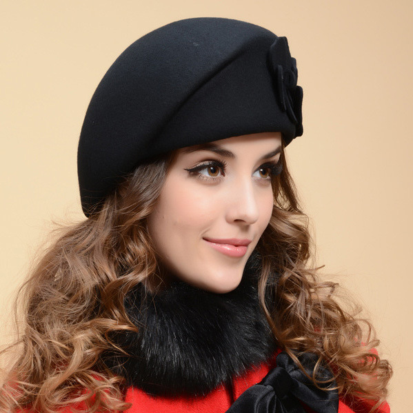 Beret-Hat Cap Wool Female French Women Stewardess Hat For Beanie Flower Trilby Soft Gorras