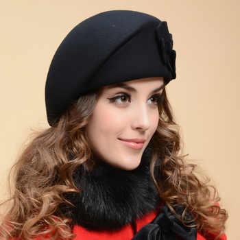 2017 New Fashion Women Beret Hat For Women Beanie Female Cap Flower French Trilby Wool Soft Stewardess Hat gorras planas - DISCOUNT ITEM  20% OFF All Category