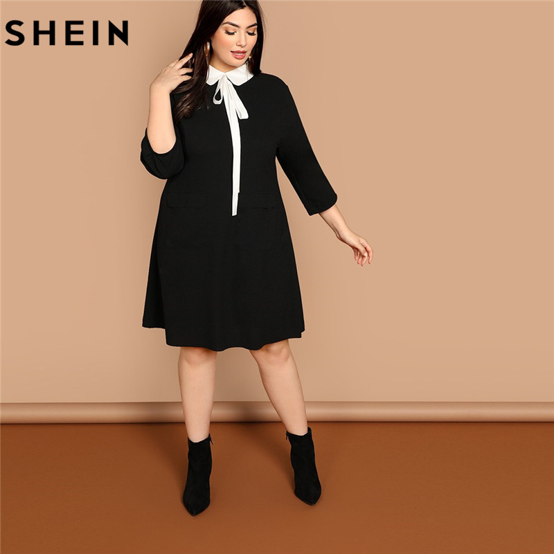 SHEIN Plus Size Tie Neck Peter Pan Collar Preppy Style Women Black Straight Dress 2019 Spring Three Quarter Sleeve Dresses
