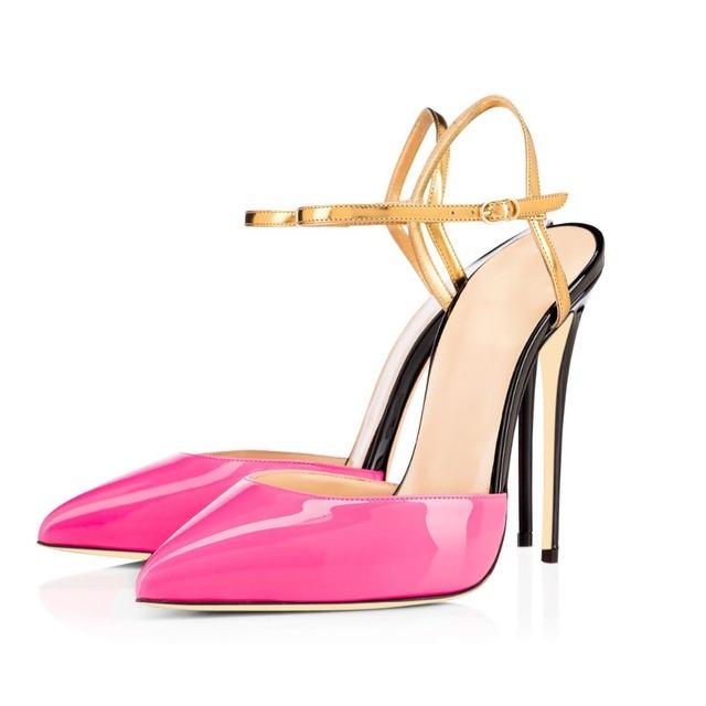 Novas Mulheres Da Moda Sandálias de Salto Alto Saltos Finos Sandálias de Couro de Patente de Alta Qualidade Vermelho Amarelo Cores Misturadas Sapatos Mulher Plus Size EUA 4-15