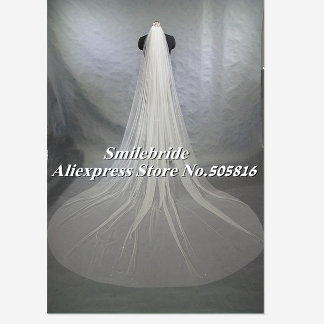 "2017 New White or Ivory 1 Layer Cathedral 118"" Length Scatter Rhinestones Wedding Bridal Veil Cut Edge with Comb"