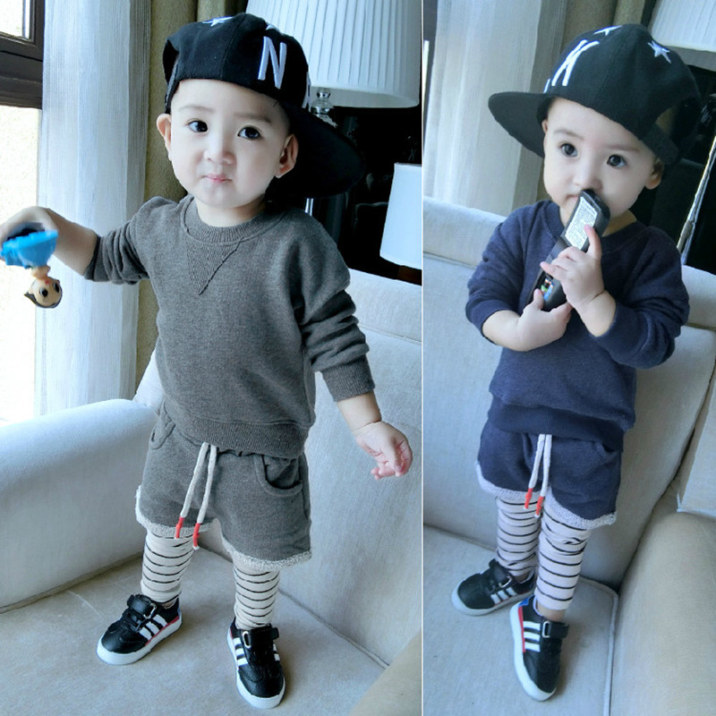 2018 Hot sales spring and autumn boy and girl cotton sweater +striped fake two pants suit sports and leisure style baby two suit