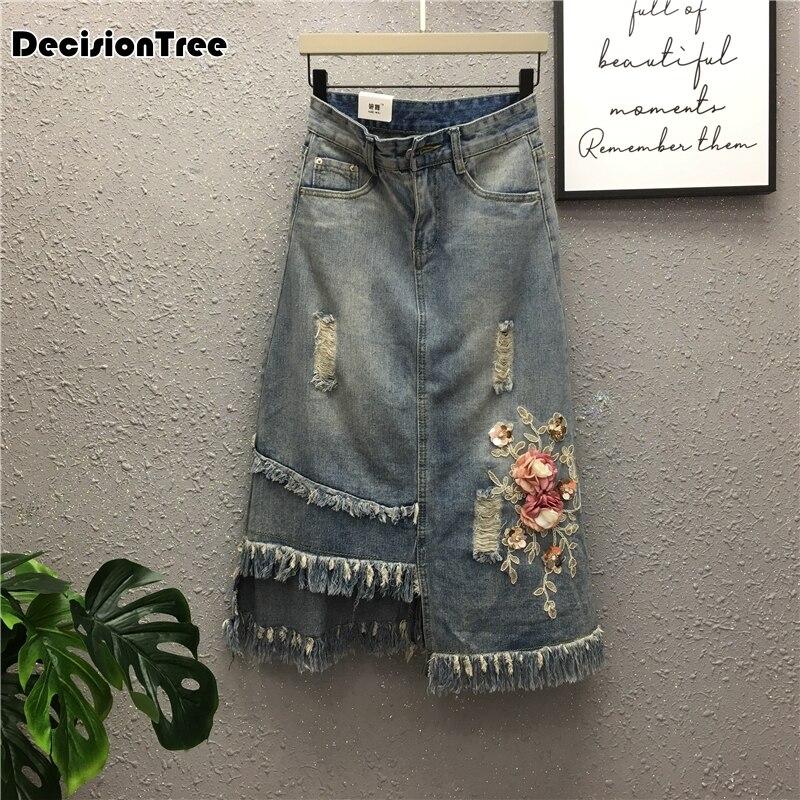 2019 nouvelles femmes de longue jupe jean style coréen retour de split long tronçon jupe jean taille haute jeans wrap hanche jupe
