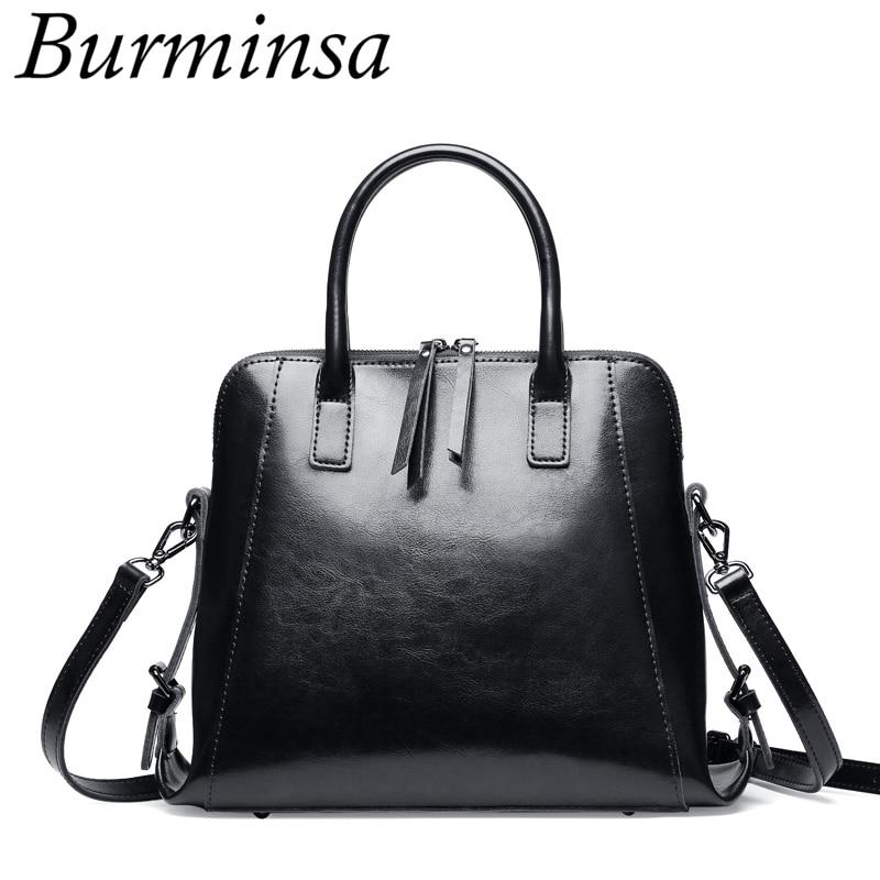 Burminsa Double Zippers Women Genuine Leather Handbags Large Capacity Retro Tote Bags Ladies Shoulder Messenger Bags