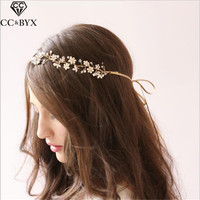 CC Jewelry Headband Crystal Pearl Bridal Wedding Hair Accessories For Brides Party White Color Simple Flower