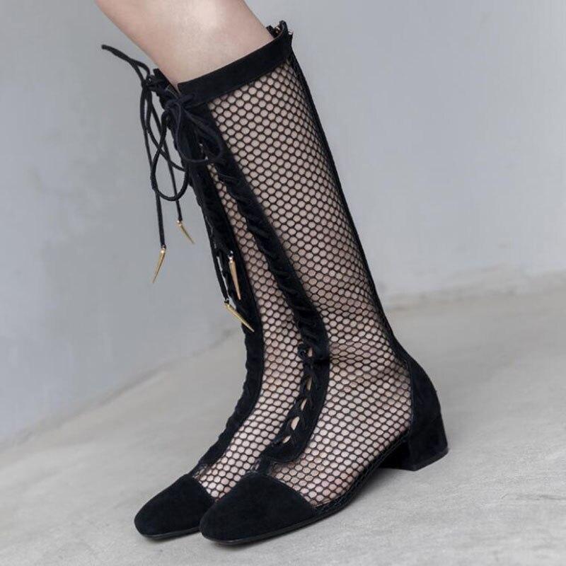 Mujer Mujeres Las Cruz Patchwork Cuadrado Arranque Verano Fishnet Fuera Para Ahueca Atada sliver Diseño Primavera Black Hacia Tacón Fresco Marca Zapatos wpYgqCx