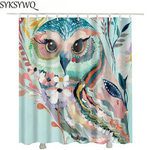 ФОТО owl printed bathroom curtain new design 2018 hot sale drop shipping flower unique shower curtain art