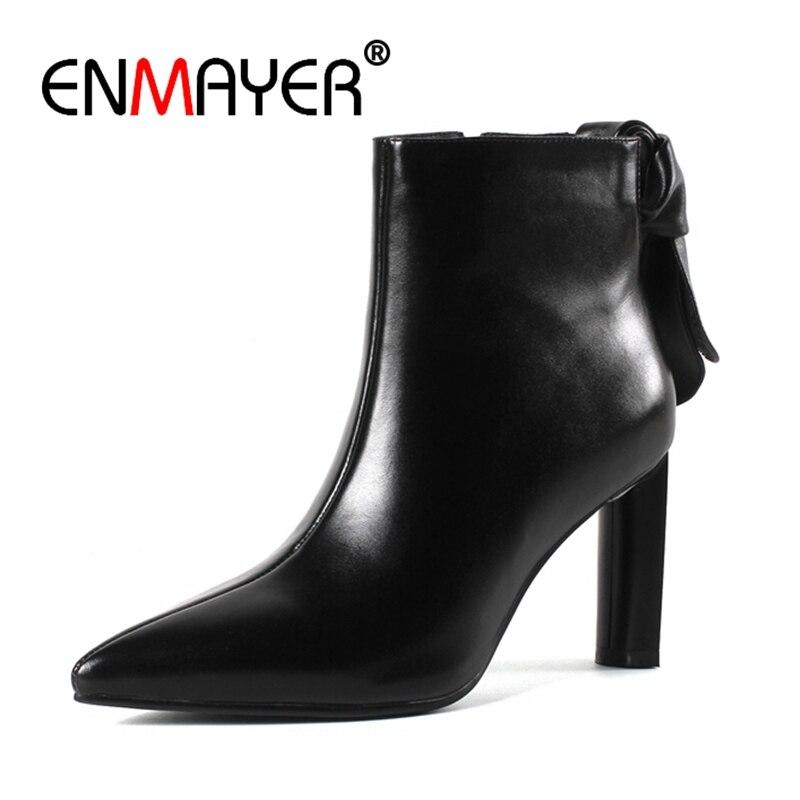 En black Bottes Zipper Cuir 43 Enmayer Talons Taille À De Bout Apricot Mode Femme Cr1228 Femmes Chaussures Minces 33 Bottines Causalité Hauts Pointu CoedxrB