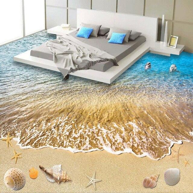 Custom 3D Vloertegels Behang Moderne Strand Zee Golf Fotobehang ...