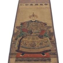 Украшения, собранные старинные классические китайские картины рисовой бумаги Цин jiaqing император портрет старый свиток живопись 168*64 см